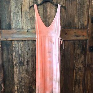 Hard Tail, S, Orange & Gray Tie Dye Maxi Dress
